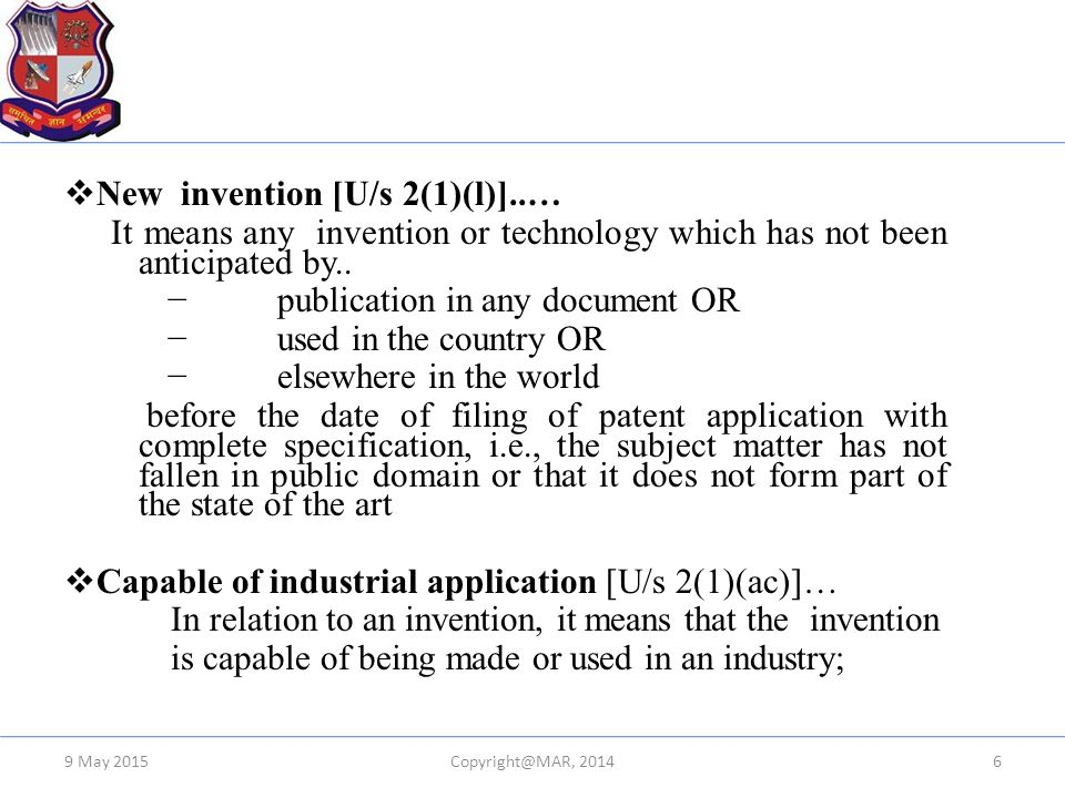 New invention [U/s 2(1)(l)]..…
